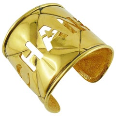 Chanel Vintage Gold Toned Quilted Cut Out Cuff Bracelet