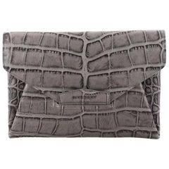 Givenchy Antigona Envelope Clutch Crocodile Embossed Leather Medium