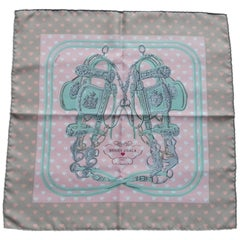Hermès Scarf Gavroche Pocket Square Brides de Gala Love Beige Rose Vert 45 cm