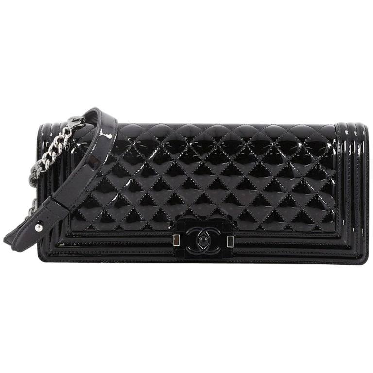 Chanel Boy Wrist Strap Clutch Quilted Patent