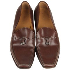 LOUIS VUITTON Brown Leather Men Loafers Mocassins Shoes Size 8.5