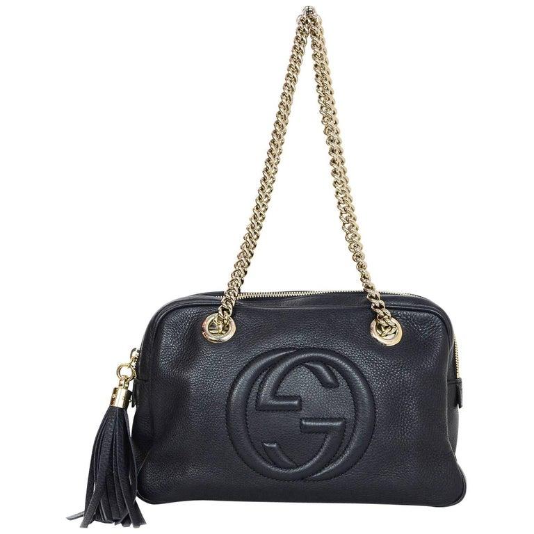 Gucci Navy Leather Logo Soho Chain Zip Top Shoulder Bag w. Dust Bag