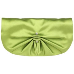 YVES SAINT LAURENT Green Satin Clutch Evening Bag with Crystals
