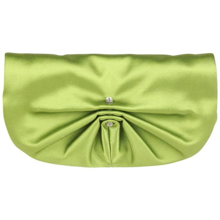 2704ae4966dc2 YVES SAINT LAURENT Green Satin Clutch Evening Bag with Crystals For Sale