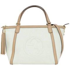 Gucci Off-White Canvas & Beige Leather Logo Soho Satchel Bag w/ Strap