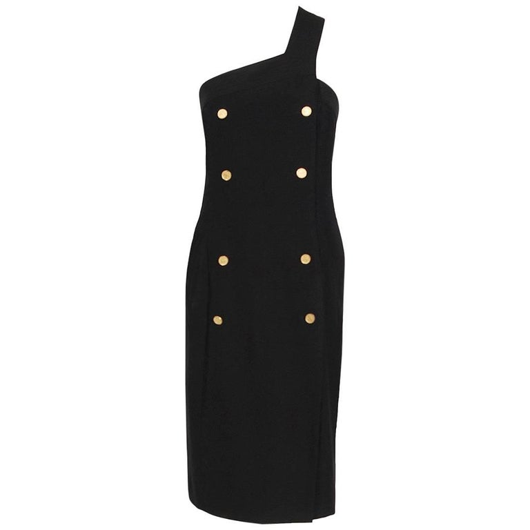 Chanel Boutique Black Linen One Shoulder Asymmetric Double-Breasted Dress, 1995