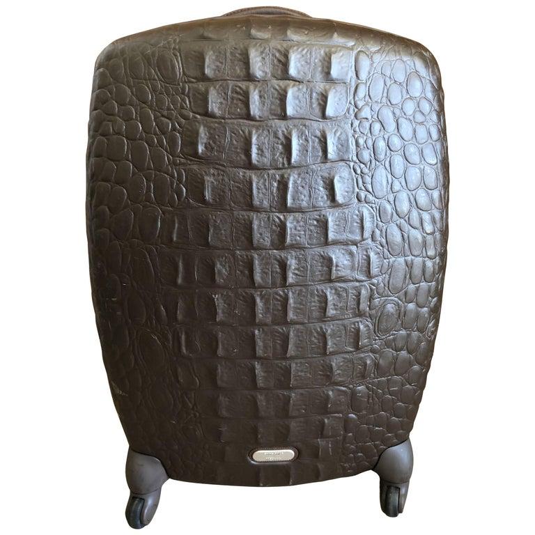 "Alexander McQueen for Samsonite ""Alligator"" Embossed Hard Case Travel Luggage"