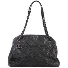 Chanel Just Mademoiselle Handbag Quilted Iridescent Leather Large