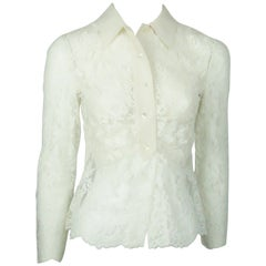 Valentino Ivory Lace and Silk Top - Small