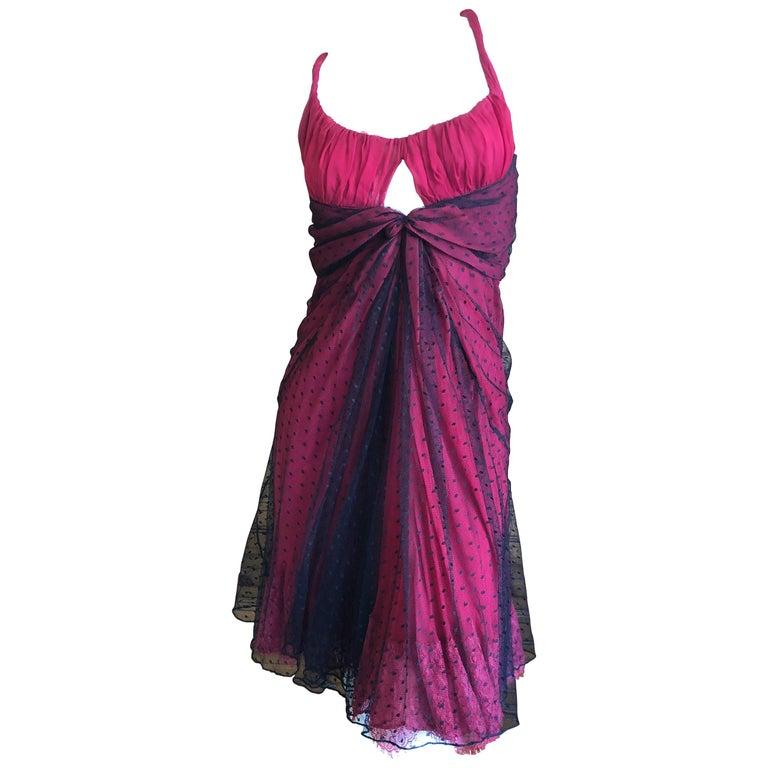 John Galliano Sheer Overlay Point d' Espirit Lace Mini Dress
