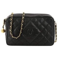 Chanel Vintage Diamond CC Camera Shoulder Bag Quilted Caviar Medium
