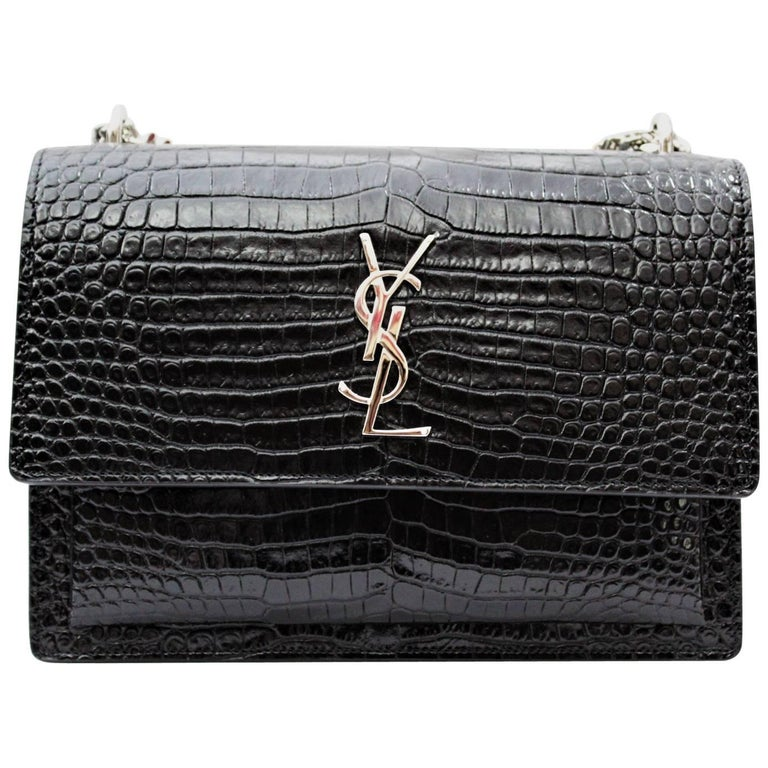 02d8e24e1bbe3 Yves Saint Laurent Sunset Bag Black Leather Crocodile Print at 1stdibs
