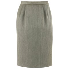 HERMES c.1980's Classic Fox Hunt Forest Sage Green Wool Pencil Skirt