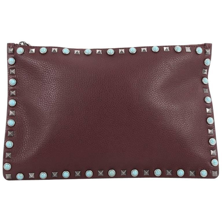 Valentino Rolling Rockstud Pouch Calfskin Large