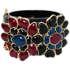 Chanel Black Resin & Glass Flowers Cuff Bracelet w. Box & Dust Bag