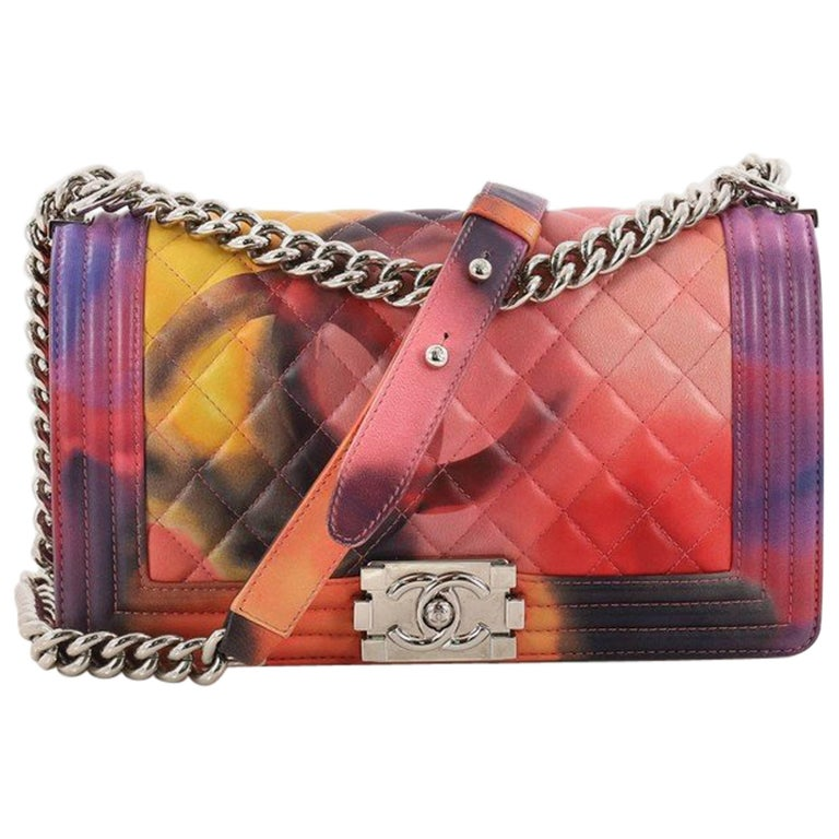 d0bcf664882154 Chanel Limited Edition Flower Power Boy Flap Bag Quilted Lambskin Old Medium  For Sale