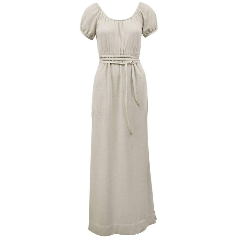 Bonnie Cashin Heathered Cream Wool Jersey Gown With Leather Trim, 1970s  For Sale