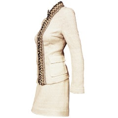 Dolce & Gabbana Silk/Cotton Beige Skirt Suit w/ Beaded Up Collar & Front Placket
