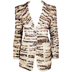 Marc Jacobs Gold & Silver Tone Sequined Brocade Notch Collar Jacket