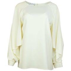 Oscar De La Renta Off-White Silk Blouse Sz 12 NWT