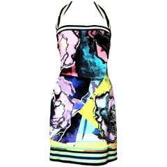 Roberto Cavalli Modern Floral Print Multi Color Strap Short Dress