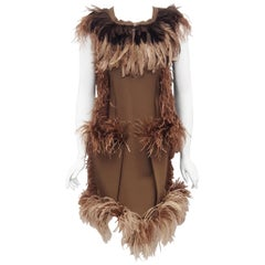 Lanvin Khaki Green Inside Out  Winter 2010 Runway Dress with Ostrich Feathers