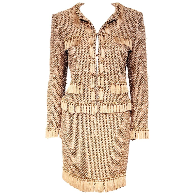 Moschino Taupe / Gold Tone / Black Cropped Fringe Skirt Suit  For Sale