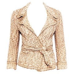 Chanel Beige, Copper & Gold Tone Cotton Blend Knit Sweater Jacket from Spring 06