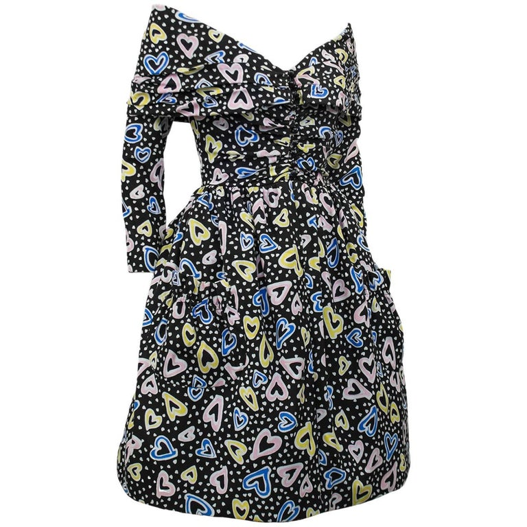 Victor Costa Heart Print Cocktail Dress, 1980s