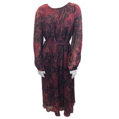 Iro Red and Black Silk Print Maxi Dress