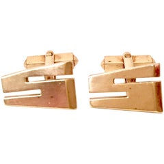 "Vintage Pair Of Gold Plate ""S"" Cuff Links By, Swank"