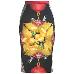 Dolce & Gabbana Orange Lemon Asian Inspired Pencil Skirt, 1990s