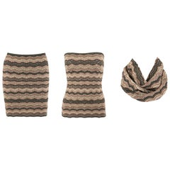 MISSONI Metallic Knit Convertible 3-in-1 Pencil Skirt Tube Top Cowl Scarf