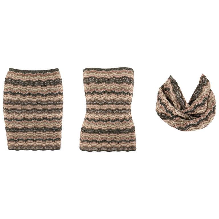 MISSONI Metallic Knit Convertible 3-in-1 Pencil Skirt Tube Top Cowl Scarf