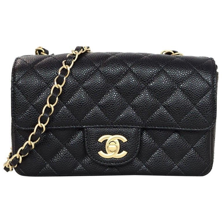 Chanel Black Quilted Caviar Leather Rectangular Mini Flap Crossbody Bag For  Sale 41d705f189d2