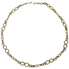CHANEL Vintage Long Necklace in Gilt Metal
