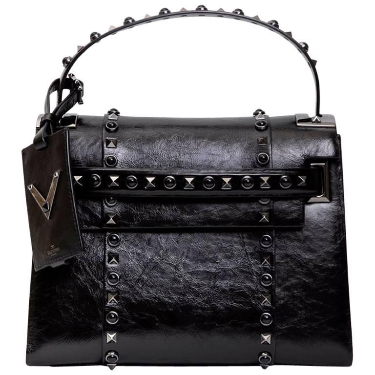 Valentino Bag In Aged Semi Matte Black Leather For