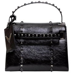 VALENTINO Bag in Aged Semi Matte Black Leather