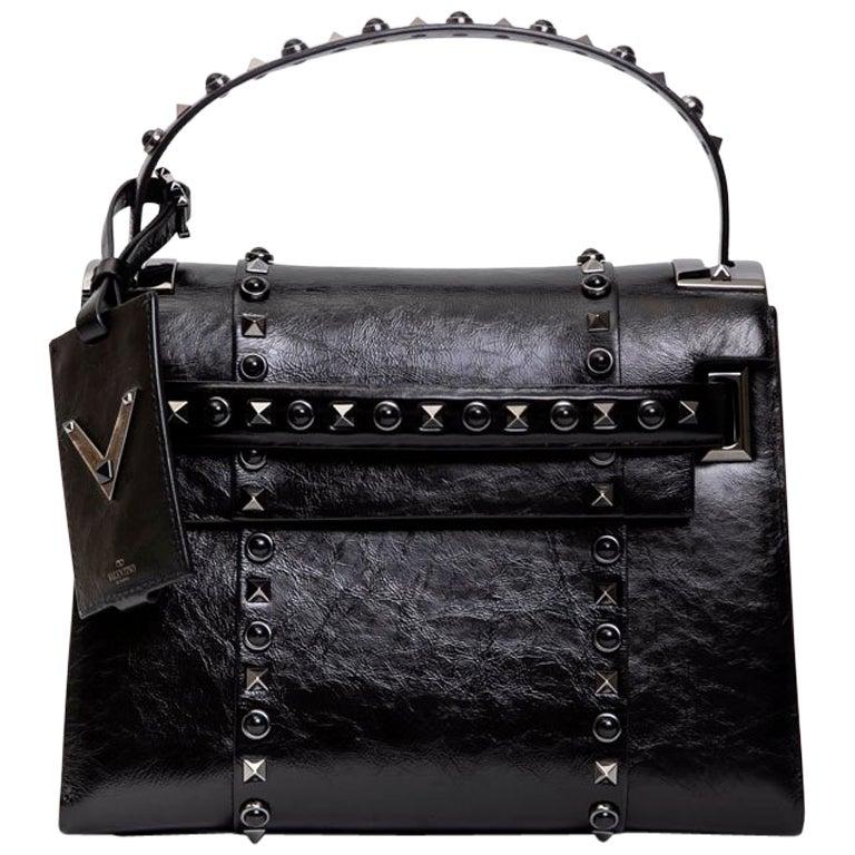 VALENTINO Bag in Aged Semi Matte Black Leather