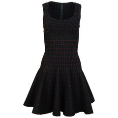 Alaia Black & Red Polka Dot Fit & Flare Dress Sz FR36