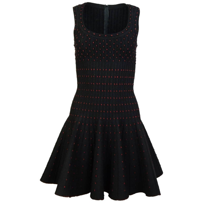 Alaia Black & Red Polka Dot Fit & Flare Dress Sz FR36