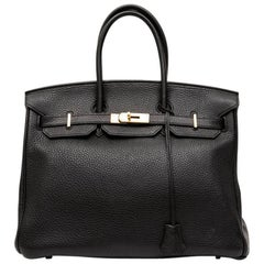 Hermes Birkin 35 Bag in Black Togo Leather