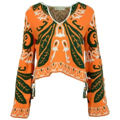 Emilio Pucci Orange Bell Sleeve Top Sz S with Box