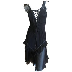 Christian Dior by John Galliano Black Silk Chiffon Corset Lace Ruffled Dress