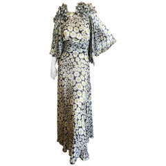 Cardinali Daisy Print Silk Chiffon Bell Sleeve Evening Dress, 1970s
