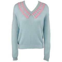 Prada Light Blue Cashmere Pink Ruffled V Neck Sweater