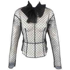 Marc Jacobs Black Silk Polka Dot Tulle Bow Collar Blouse