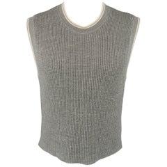 Jean Paul Gaultier Gray Wool Cream Stripe Trim Vest