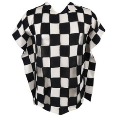 Junya Watanabe Black and White Checkered Knit Draped Side Pullover