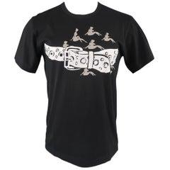 Comme Des Garcons Men's Black Belt and Ladies Graphic Cotton T shirt